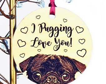 Pug Ornament, Fawn OR Black Pug Ornament, Add Personalized Text