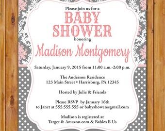 Baby Girl  Shower Invitation Pink Grey Pretty Damask  Invite Polka Dots It's a Girl Invitation Printable 5x7 Digital JPG File (523)