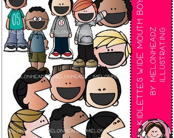 Kidlettes Wide Mouthed boys clip art - COMBO PACK