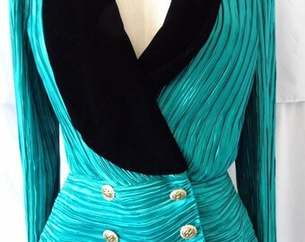 Vintage George F Couture Saxs 5th ave Ruched Pleated velvet Jacket S Small 6