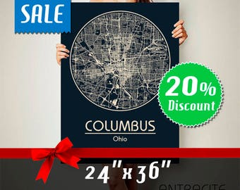 COLUMBUS Ohio City Map Columbus Ohio Art Print Columbus Ohio poster Columbus Ohio map art United States of America Poster wall art