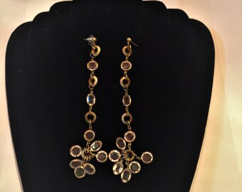 Crystal and Gold Finished Shoulder Duster Earrings