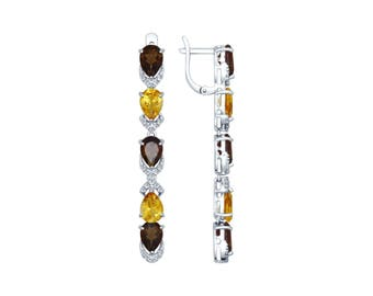 925 Multi-Stone Silver Earrings with Raw Topaz Cubic Zirconia and Сitrine  Jewelry For Women
