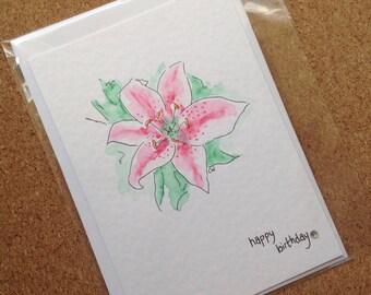 Handmade hand painted birthday card!