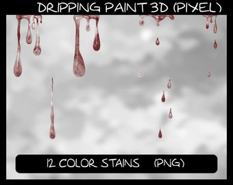 Dripping Paint 3D (Pixel), 12 color spots as pixel graphics: png files with transparent background, colour stain spot patch *** DOWNLOAD ***