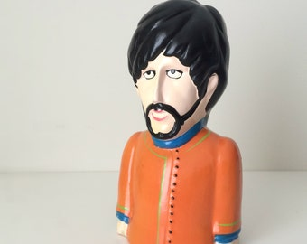 1968 Beatles Yellow Submarine George Harrison Collectible Coin Bank, Father's Day Gift Music Lover, Rare 60's Beatles Bank Pride Creations