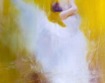 Yellow Large Oil Painting, Original Wife Gift, Ballet Dancer Painting, Figurative Wall Art in White and Yellow