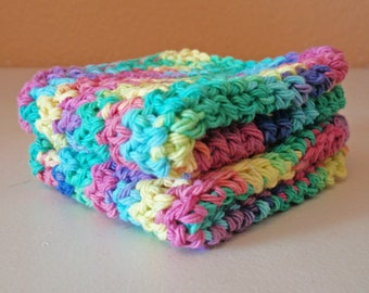 Hand Crocheted Cotton Washcloths - Handmade Green Rainbow Scrubbie Cloths, Eco Friendly Cleaning Cloth, 100% Cotton Washcloths, SET of 2