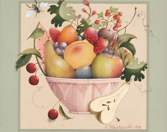 Fruit bowl archival reprint limited edition folk art