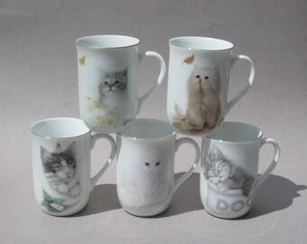 Otigiri Cat Mugs Bob Harrison Design Set / 5 Jonah's Workshop Inc Otigiri Japan Kitten Coffee Mugs 1980s Vintage