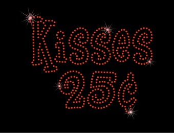 Kisses 25 Cents Valentine's Day XOXO Rhinestone Bling Iron on Heat Transfer For T-shirt