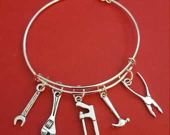 Silver Tool Themed Charm Bracelet (Handywoman)