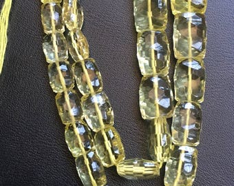 AAA lemom concave cut chicklet|8/11mm-12/16mm gradual|16 inches|lemon chicket concave cut faceted beads