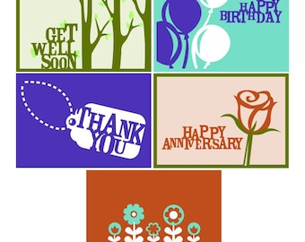 Happy Birthday, Anniversary, Thank You, Get Well Soon Card Set Vector Art SVG Files