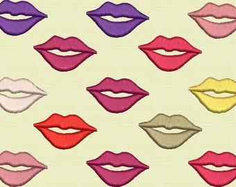 Luscious Lips Machine Embroidery Design 4 Designs of Lips Single Lip 3 Lips 10 Lips 13 Lips Makeup Lipstick