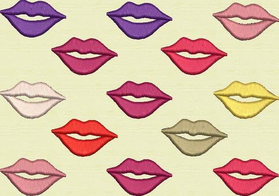 Дизайн губы машинной вышивки 51