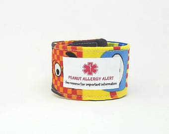 New! Toddler Medical Alert Bracelet Kids ID Wristband  Adjustable Fabric Bracelet Autism Safety Bracelet Allergy Alert  - Little Monsters