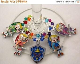"Wine Charms Set of 5 Legend of Zelda Inspired ""4 Swords"" Handmade Swarovski Crystal- Geek, Video Game, Gamer,Wedding Birthday Party"