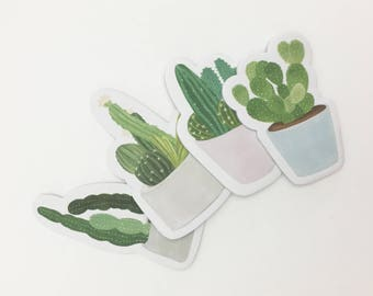 Variety Succulent Sticky Note Pads, Fun Cacti Stickies, Desert Plants Memo Pad, Palm Springs Gift, Office Supplies // Set of 4  //CR-R-046