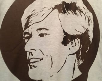 Robert Redford Vintage 1970s Baby Blue and Black Iron On T-Shirt