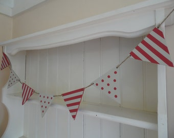 Red Spots and Stripes Bunting-Hand Painted Wood Garland-Reversible-Home Decor-Nursery Decor-Housewarming Gift-Gift for Her-Gift for Teens