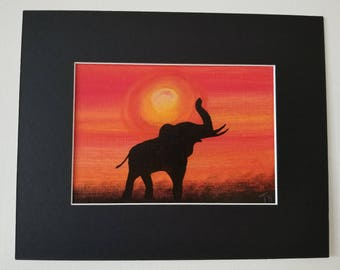 """Elephant Silhouette Painting 5""""x 7"""""""