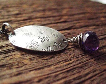 Amethyst Necklace, Sterling silver, Disc Necklace, Hand Stamped, Pinot Noir, Chalcedony Briolette, Oxidized Sterling, candies64