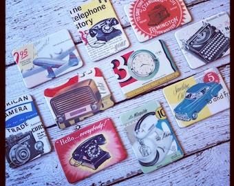 SALE Vintage Nostalgia Magnets Archival images 6 random magnets retro