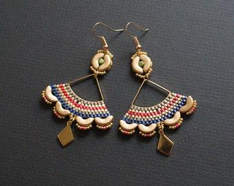 Golden Hollow Out Earrings, Golden Fan Earrings, Golden Color Earrings, Oriental Jewelry, Boho Earrings, Indie Earrings, Chandelier Earrings