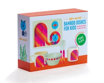 Plastic-Free Bamboo Fiber Dishes! Safe for your kids and the planet! FUN counts! Magical Elephants and Cats!