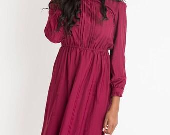 70s Maroon Secretary Dress S