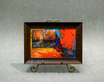 Framed Canvas Art Contemporary Abstract Autumn Landscape