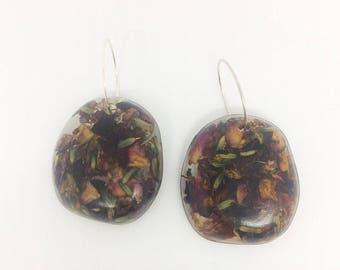 Lavender and Rose Petal Pebble Earrings