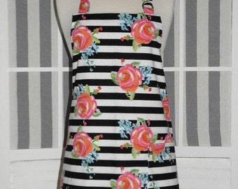 Kate Floral & Stripe Print Chef Style Kitchen Apron - FREE or PRIORITY Shipping