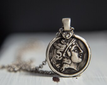 Hermes Sterling Silver Pendant-Ancient Greek Inspired Necklace-Greek God Necklace-Replica Coin Pendant-Greek Coin Jewellery