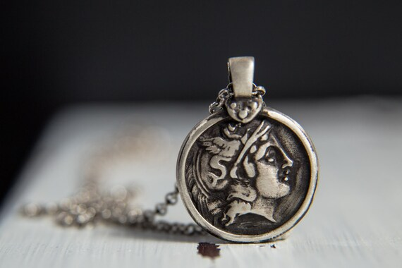 Hermes sterling silver pendant ancient greek inspired like this item mozeypictures Choice Image