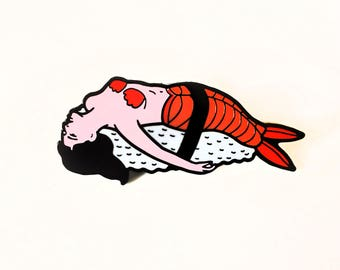 Lapel Pin of mermaid nigiri sushi, Hard enamel, pins, food