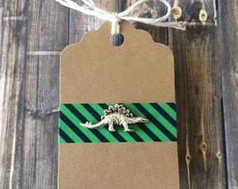 Stegosaurus Lapel Pin / Tie Tack - Silver Tone - Dinosaur Pin