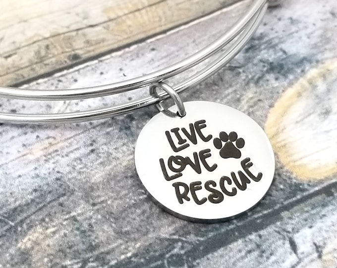 Live Love Rescue Customizable Expandable Bangle Charm Bracelet, choose your charms, create your style, design your bracelet,