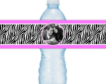 Wedding Photo Water Bottle Labels - CUSTOM Printable Zebra Print Water Bottle Labels, YOU print, you cut, DIY water bottle labels