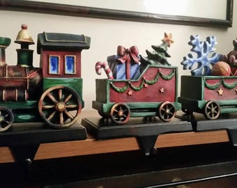 Holiday Christmas Train Fireplace Stocking Hangers