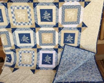Farmhouse Retreat French Blue hand sewn quilt with Renee Nanneman fabrics