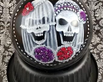 Wedding Skulls Ornament, Bride Skulls, Gothic Wedding Ornament, Gay Wedding Gift, Red Rose, Purple Rose Headpiece, Lesbian Wedding, Skulls