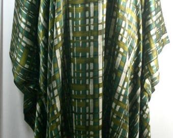 Plus size tall caftan, shamoz or charmeuse fabric, green or blue w/checks pattern,  green or brown w/quilt pattern, size 1X-2X,size 3X-4X