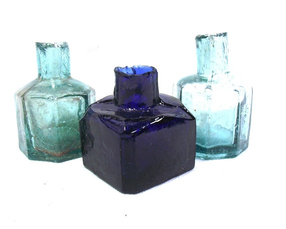 """2.25"""" Antique Glass Ink Bottle Collection"""