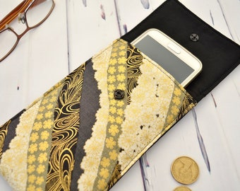 Japanese gold fabric phone sleeve case, padded gadget bag