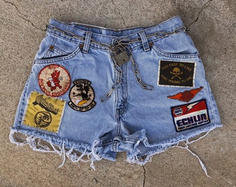 Live Fast vintage patched up Levi's shorts