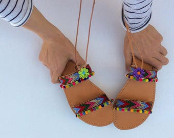Pom Pom Sandals, Boho Sandals, Greek sandals, Boho Gladiators, Summer sandals, leather sandals, womens sandals, handmade sandals, gladiators
