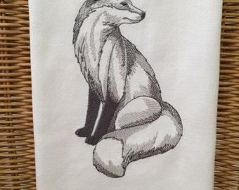 Flour sack tea towel in white - French fox, toile