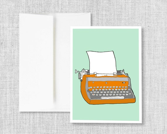 "greeting cards, greeting card set, blank greeting card, cards, vintage typewriter, retro typewriter, blank card - ""Vintage Typewriter No. 7"""